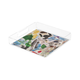 Contemporary Art Lucite Tray by KeyAesthetics