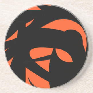 Contemporary Art Orange / Black Coaster