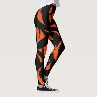Contemporary Art Orange / Black Leggings