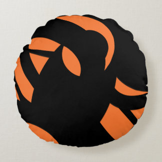 Contemporary Art Orange / Black Round Pillow