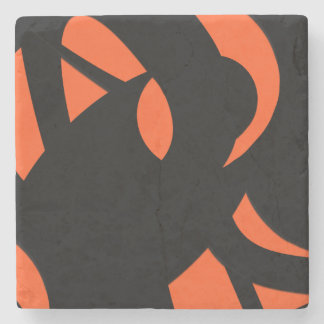 Contemporary Art Orange / Black Stone Coaster