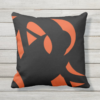 Contemporary Art Orange / Black Throw Pillow