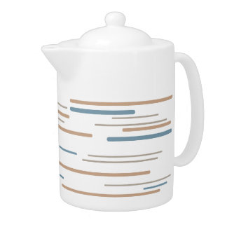 Contemporary Beige and Blue Striped Tea Pot