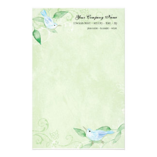 Contemporary Birds 'n Swirls Green Stationery