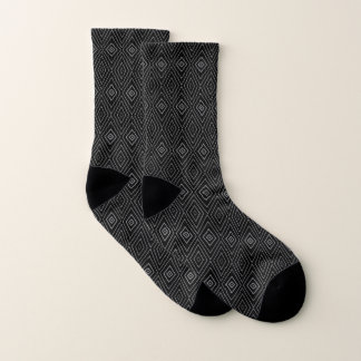 Contemporary Black and Gray Chevron Pattern Socks 1