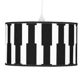 Contemporary Black and White Rectangle Pattern Pendant Lamp