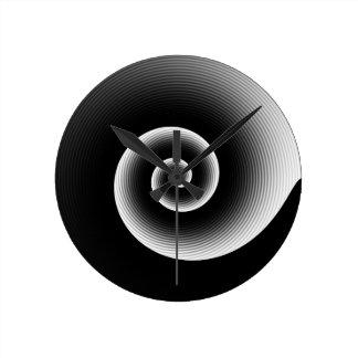 Contemporary Black and White Stylish Twirl Pattern Round Clock