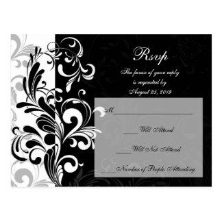 Contemporary Black and White Swirl Postcard