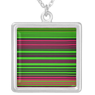 Contemporary black green and pink stripes necklaces