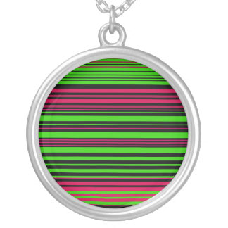 Contemporary black green and pink stripes custom necklace