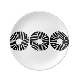 Contemporary Black & White Dinner Plate
