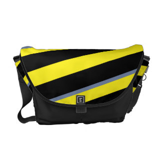 Contemporary Black Yellow pigeon blue stripes Commuter Bag
