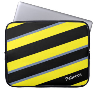 Contemporary Black Yellow pigeon blue stripes Laptop Computer Sleeves