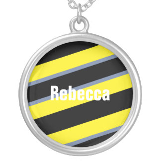Contemporary Black Yellow pigeon blue stripes Round Pendant Necklace