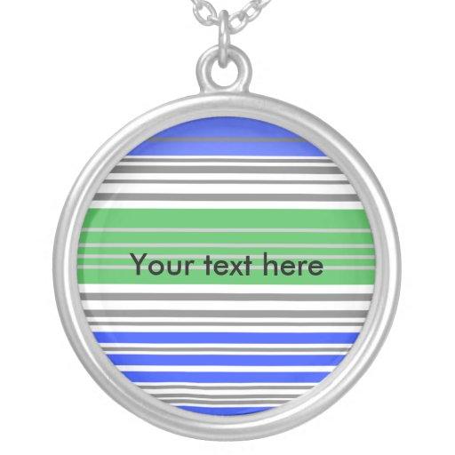 Contemporary blue and gray horizontal stripes custom necklace