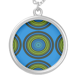 Contemporary blue and green circles pendant