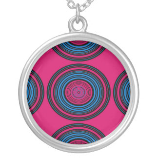 Contemporary blue and pink circles personalized necklace