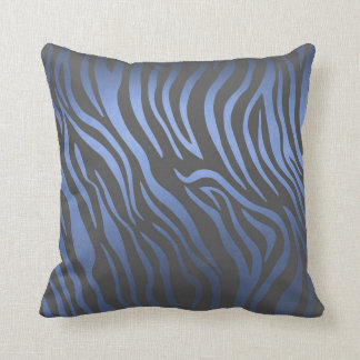Contemporary Blue Marine Grafitti Zebra Skin Throw Pillow