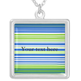 Contemporary blue white and moss green stripes square pendant necklace