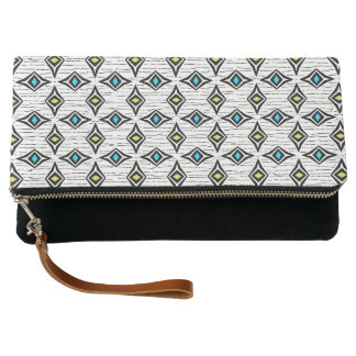 Contemporary blue yellow abstract diamond pattern clutch