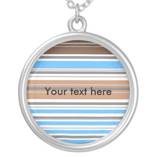 Contemporary brown and blue horizontal stripes custom necklace