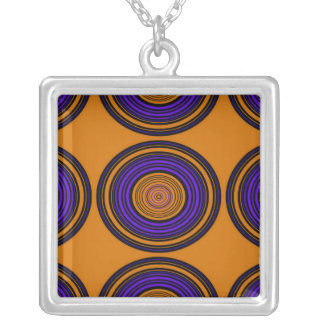 Contemporary brown and purple circles square pendant necklace