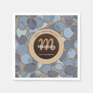 Contemporary Brown & Blue w/Names Disposable Napkins