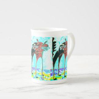 contemporary cat meow bone china mug