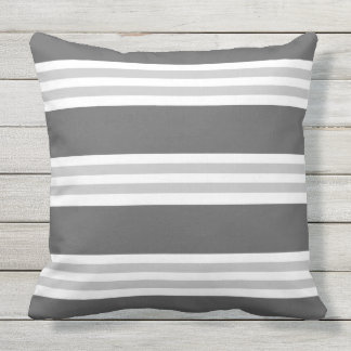 Contemporary Charcoal Gray striped Outdoor Pillow