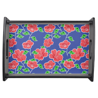Contemporary chic red and blue floral food trays