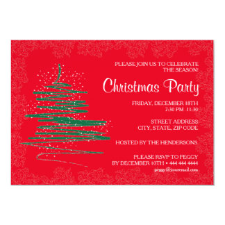 Contemporary Christmas Party Red 5x7 Paper Card