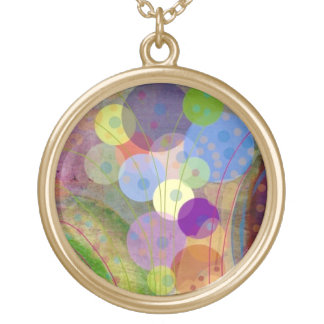 Contemporary Colorful Circles and Bubbles Round Pendant Necklace