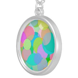 Contemporary Colorful Circles Bubbles Round Pendant Necklace