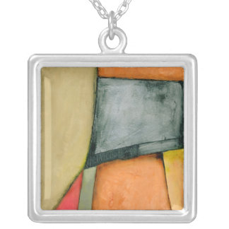 Contemporary Colorful Geometric Shapes Square Pendant Necklace