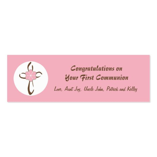 Contemporary Cross Gift Tag in Pink Business Card