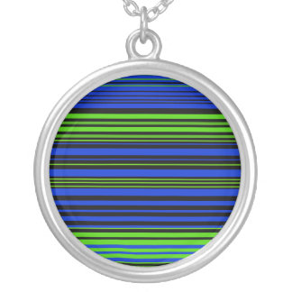 Contemporary dark blue black and green stripes round pendant necklace