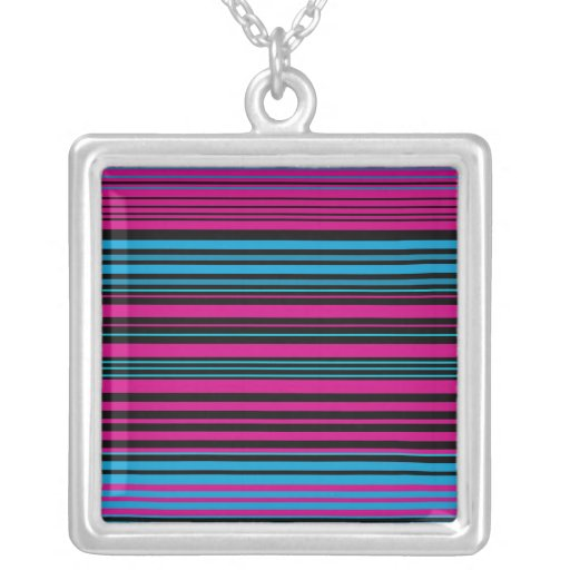 Contemporary dark pink black and blue stripes personalized necklace