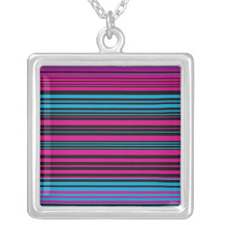 Contemporary dark pink black and blue stripes square pendant necklace