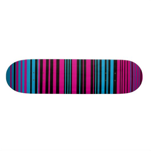 Contemporary dark pink black and blue stripes custom skate board