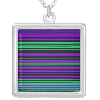 Contemporary dark purple green and black stripes square pendant necklace