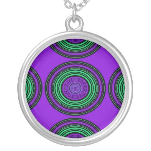 Contemporary dark purple green circles necklaces