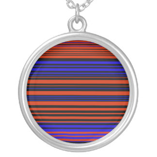 Contemporary dark red blue and black stripes round pendant necklace