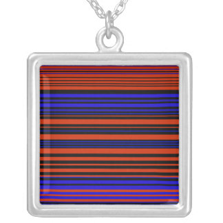 Contemporary dark red blue and black stripes square pendant necklace