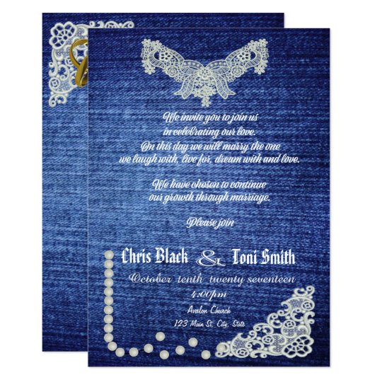 Contemporary Denim, Pearls & Lace Wedding Invite