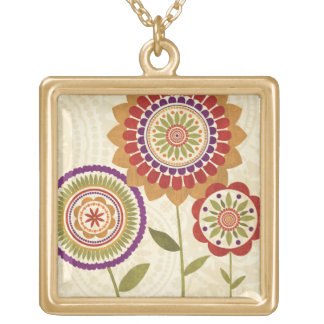 Contemporary Fall Flowers Gold Plated Necklace