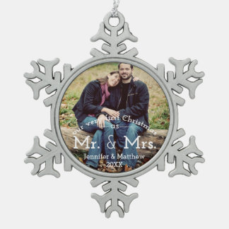 Contemporary First Christmas Mr. & Mrs. Photo Pewter Snowflake Ornament