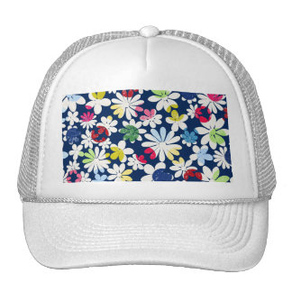 Contemporary Floral Pattern Mesh Hat