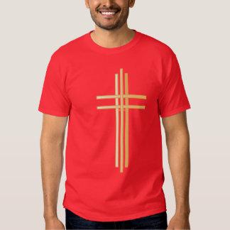 Contemporary Gold Christian Cross - Mens' Shirt