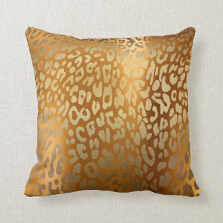 Contemporary Gold Glam Leopard Animal Skin Throw Pillow
