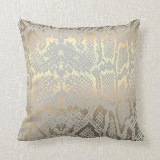 Contemporary Gold Gray Animal Python Snake Skin Throw Pillow